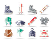 Ski and snowboard equipment icons. Icon set Stock Photo