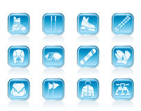 Ski and snowboard equipment icons Royalty Free Stock Photos
