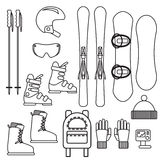 Ski and snowboard gear vector line icon set. Royalty Free Stock Images
