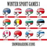 Ski snowboard helmets goggles icons Stock Photography