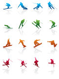 Ski and snowboard icon. Vector icon set Royalty Free Stock Image