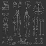 Ski and snowboard icons set Royalty Free Stock Photography