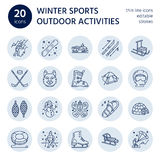 Ski, snowboard, skates, tubing, ice kiting, climbing and other winter sport line icons.  Stock Image