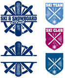 Ski and Snowboard Team Graphics. A collection of skiing and snowboarding themed badges for your ski team or snowboard club Royalty Free Stock Photos