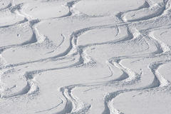 Ski and snowboard tracks Royalty Free Stock Photo