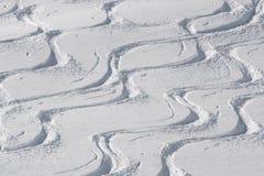 Ski and snowboard tracks Royalty Free Stock Photo