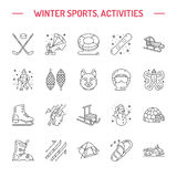 Ski, snowboard, vleten, buizenstelsel, ijs het kiting, het beklimmen en ander de lijnpictogram van de de wintersport stock illustratie