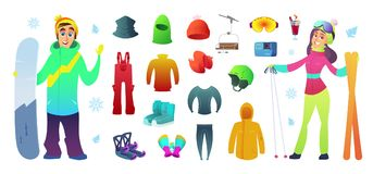 Ski and snowboarding collection icons equipment and funny characters design.  Stock Photography