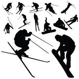 Ski and snowboarding people silhouette Stock Photo