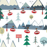 Ski sport and mountains seamless pattern with trees and elevator Royalty Free Stock Photo