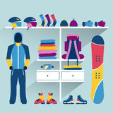 Ski sport store. Winter activities boutique indoor. F. Lat design vector illustration Royalty Free Stock Images