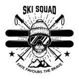 Ski squad. Extreme skull with skis.  Design element for emblem, sign, label, poster. Vector illustration Stock Photo