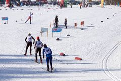 Ski staff on the track before the world Championships in ski sports . royalty free stock photography