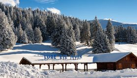 Ski station in French snow-covered mountains in Semnoz. A ski station in French snow-covered mountains in Semnoz stock photos