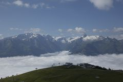 Ski station. The ski station in the high Alps stock photo