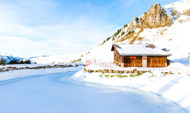 Ski Station on mount over Engelberg on the Swiss alps Stock Photo