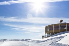 Free Ski Station On Top Of The Mountain Stock Photography - 113801632