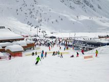 Ski station of Tignes in winter, departure of the ski lifts. The ALps, France stock image