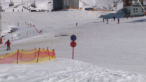Ski station, zoom out stock footage