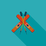 Ski and sticks flat icon with long shadow. Vector illustration file stock illustration