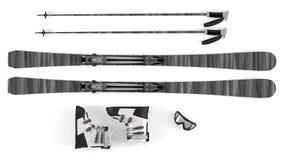 Ski, sticks, mask items isolated Stock Photo
