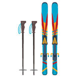 Ski and sticks vector illustration Royalty Free Stock Images