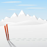 Ski stuck on snow Royalty Free Stock Images