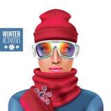 Ski Suit Winter Woman Composition. Colored ski suit winter woman composition with red hat and scarf winter activities descriptions vector illustration Stock Image
