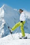 Ski, sun and fun. Woman have fun on ski Stock Photos