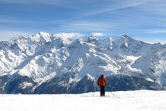Ski, Sun & Mont Blanc. Skiing in front of the Mont-blanc mountain, alps, france Royalty Free Stock Photography