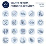 Ski, surf des neiges, patins, tuyauterie, glace ligne icônes de sport d'hiver kiting, de s'élever et autre illustration stock