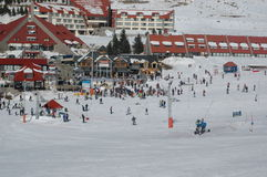 Ski time. Ski resort on a sunny day, montains packed with snow Stock Images