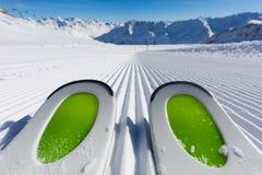 Ski tips on ski piste Royalty Free Stock Image