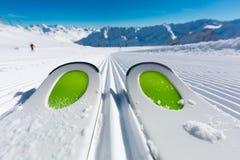 Ski tips on ski piste Royalty Free Stock Photo