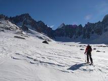 Ski Touring. On the Argentiere glacier royalty free stock photos