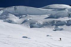 Ski touring. On a glacier royalty free stock photo