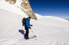 Ski Touring in Alps Royalty Free Stock Photography