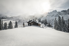 Ski touring in the alps Royalty Free Stock Image