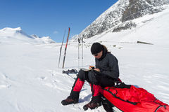 Ski touring break Stock Images