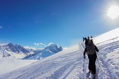 Mountain views in Chamonix while Ski Touring royalty free stock photos