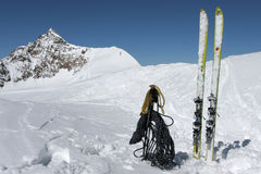 Ski touring equipment. Ski and poles for alpine touring Royalty Free Stock Photos