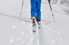 Ski touring on fresh snow Royalty Free Stock Photos