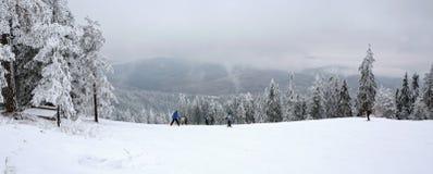Ski touring in mountains. Adventure winter freeride extreme sport. royalty free stock photo