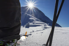 Ski Touring. In the mountains, fresh snow with a blue bird day. Location Kaikoura, New Zealand Royalty Free Stock Image