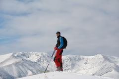 Ski-touring in mountains. Stock Photography