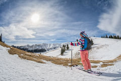 ski touring in the mountains Stock Photo