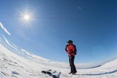 Ski touring on sunny day stock photography