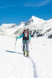 Ski touring in sunny weather. Stock Photos