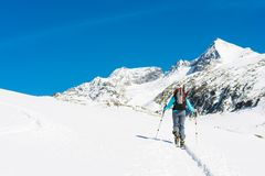 Ski touring in sunny weather. Stock Images