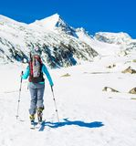 Ski touring in sunny weather. Royalty Free Stock Photos